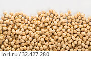 Купить «Chickpea grains on white background», фото № 32427280, снято 7 декабря 2019 г. (c) Яков Филимонов / Фотобанк Лори
