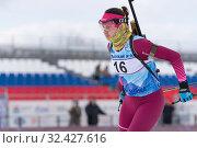 Купить «Kamchatka sportswoman biathlete Anastasia Ivchenko skiing on distance biathlon complex», фото № 32427616, снято 12 апреля 2019 г. (c) А. А. Пирагис / Фотобанк Лори