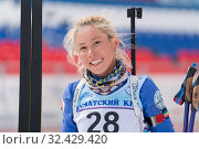 Купить «Sportswoman biathlete Petrunova Kseniya (Kamchatka Krai) at finish after rifle shooting and skiing», фото № 32429420, снято 12 апреля 2019 г. (c) А. А. Пирагис / Фотобанк Лори