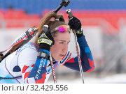 Portrait sportswoman biathlete Petrova Victoria Saint Petersburg at finish after skiing, rifle shooting (2019 год). Редакционное фото, фотограф А. А. Пирагис / Фотобанк Лори