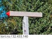 Ein alter Wegweiser aus Holz ohne Aufschrift. Стоковое фото, фотограф Zoonar.com/Erwin Wodicka / age Fotostock / Фотобанк Лори