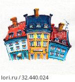 Watercolor sketch of Nyhavn, Copenhagen, Denmark. Стоковая иллюстрация, иллюстратор Коваленкова Ольга / Фотобанк Лори
