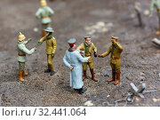 Officer and soldiers at a halt, miniature scene. Стоковое фото, фотограф Tryapitsyn Sergiy / Фотобанк Лори