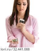 Купить «Sad girl think about cost of repair smartphone», фото № 32441088, снято 16 июля 2016 г. (c) Гурьянов Андрей / Фотобанк Лори