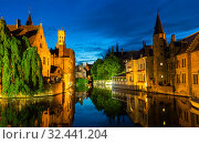 Belgium, Brugge, European town with river channels (2019 год). Стоковое фото, фотограф Tryapitsyn Sergiy / Фотобанк Лори