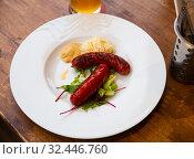 Купить «Grilled sausages with mustard and horseradish. Czech beer snack», фото № 32446760, снято 21 ноября 2019 г. (c) Яков Филимонов / Фотобанк Лори