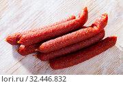 Smoked Tyrolean sausages. Стоковое фото, фотограф Яков Филимонов / Фотобанк Лори
