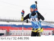 Купить «Kamchatka sportsman biathlete Storonkin Nikita skiing on distance biathlon stadium», фото № 32446996, снято 12 апреля 2019 г. (c) А. А. Пирагис / Фотобанк Лори