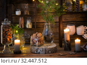 Купить «Christmas decoration cocoa bar with cookies and sweets on old wooden background in natural rustic style. Winter cozy concept», фото № 32447512, снято 16 ноября 2019 г. (c) Майя Крученкова / Фотобанк Лори