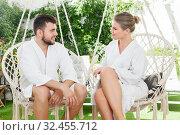 Купить «couple relaxing in spa hotel», фото № 32455712, снято 24 апреля 2018 г. (c) Яков Филимонов / Фотобанк Лори