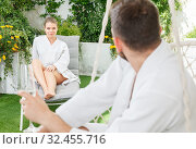 Купить «Adult woman relaxing with boyfriend in spa hotel», фото № 32455716, снято 24 апреля 2018 г. (c) Яков Филимонов / Фотобанк Лори