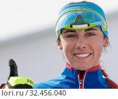Купить «Portrait smiling Kazakhstan sportswoman biathlete Yegorova Polina at finish after rifle shooting and skiing. Regional youth biathlon competitions East Cup», фото № 32456040, снято 13 апреля 2019 г. (c) А. А. Пирагис / Фотобанк Лори