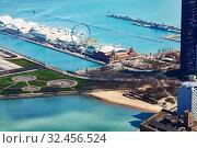 Lake Michigan park and peer in Chicago downtown (2018 год). Стоковое фото, фотограф Сергей Новиков / Фотобанк Лори