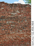 Red brick wall texture background. Стоковое фото, фотограф Константин Колосов / Фотобанк Лори