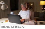 Купить «senior woman with laptop drinking coffee at home», видеоролик № 32456972, снято 18 ноября 2019 г. (c) Syda Productions / Фотобанк Лори