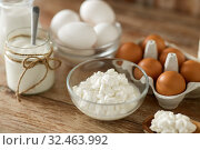 cottage cheese, yogurt, milk and chicken eggs. Стоковое фото, фотограф Syda Productions / Фотобанк Лори