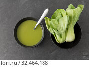 bok choy chinese cabbage cream soup in bowl. Стоковое фото, фотограф Syda Productions / Фотобанк Лори