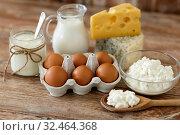 Купить «cottage cheese, milk, yogurt and chicken eggs», фото № 32464368, снято 16 августа 2018 г. (c) Syda Productions / Фотобанк Лори
