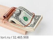 Viele amerikanische Dollar Geldscheine in Mausefalle. Vor weißem Hintergrund. Стоковое фото, фотограф Zoonar.com/Erwin Wodicka / age Fotostock / Фотобанк Лори