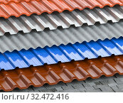 Different types of roof coating. Background from layers of sheet metal profiles, ceramic tiles, asphalt roofing shingles and gypsum slate. Стоковое фото, фотограф Maksym Yemelyanov / Фотобанк Лори