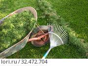 Купить «Грабли и тачка с травой», фото № 32472704, снято 10 сентября 2019 г. (c) Александр Романов / Фотобанк Лори