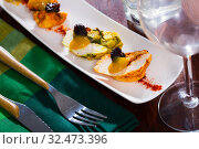 Купить «Turkey breast on spicy sauce mango served with with paprika and prunes», фото № 32473396, снято 5 декабря 2019 г. (c) Яков Филимонов / Фотобанк Лори