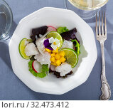 Купить «Sea food – cod ceviche with mango», фото № 32473412, снято 23 февраля 2020 г. (c) Яков Филимонов / Фотобанк Лори