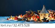 Купить «Christmas composition on snow», фото № 32473528, снято 11 декабря 2018 г. (c) Иван Михайлов / Фотобанк Лори
