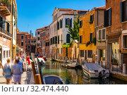 Купить «Bright colorful houses on Venetian lagoon, Venice», фото № 32474440, снято 5 сентября 2019 г. (c) Яков Филимонов / Фотобанк Лори