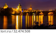 Night view of Charles bridge. Prague. Czech Republic. Стоковое фото, фотограф Яков Филимонов / Фотобанк Лори