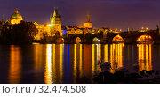 Купить «Night view of Charles bridge. Prague. Czech Republic», фото № 32474508, снято 11 декабря 2019 г. (c) Яков Филимонов / Фотобанк Лори
