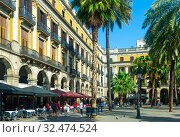 Купить «Fountain of Placa Reial (Royal Square) at daytime in Barcelona. Spain», фото № 32474524, снято 24 июля 2019 г. (c) Яков Филимонов / Фотобанк Лори