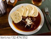Beef goulash with Czech knedliky. Стоковое фото, фотограф Яков Филимонов / Фотобанк Лори