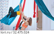 Купить «Aerial yoga - two athletic women having a training in the bright studio», видеоролик № 32475024, снято 9 декабря 2019 г. (c) Константин Шишкин / Фотобанк Лори
