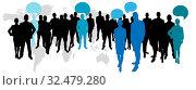 Geschäftsleute mit Sprechblasen vor Weltkarte. Стоковое фото, фотограф Zoonar.com/Robert Kneschke / age Fotostock / Фотобанк Лори