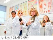 Schüler Gruppe der Grundschule im Fach Biologie forschen über Tiere im Labor. Стоковое фото, фотограф Zoonar.com/Robert Kneschke / age Fotostock / Фотобанк Лори