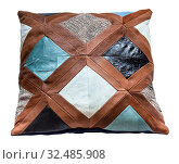 Handmade patchwork leather throw pillow isolated on white background. Стоковое фото, фотограф Zoonar.com/Valery Voennyy / easy Fotostock / Фотобанк Лори