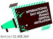 Купить «Word writing text International Day Against Female Genital Mutilation. Business concept for awareness day February Megaphone loudspeaker green striped frame important message speaking loud», фото № 32488364, снято 31 мая 2020 г. (c) easy Fotostock / Фотобанк Лори