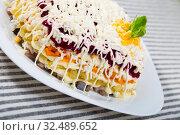 Купить «Dressed herring salad», фото № 32489652, снято 26 июня 2018 г. (c) Яков Филимонов / Фотобанк Лори