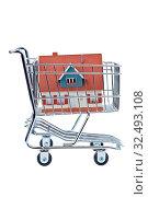 Ein Modell eines Hauses in einem Einkaufswagen. Symbolfoto für Hauskauf. Стоковое фото, фотограф Zoonar.com/Erwin Wodicka / age Fotostock / Фотобанк Лори