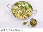 Купить «Pasta with cheese, avocado and pesto on a white plate», фото № 32509216, снято 27 ноября 2019 г. (c) Марина Володько / Фотобанк Лори