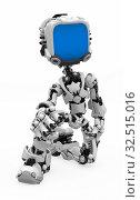 Купить «Small 3d robotic figure on one knee, over white, isolated», фото № 32515016, снято 5 апреля 2020 г. (c) easy Fotostock / Фотобанк Лори