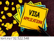 Conceptual hand writing showing Visa Application Motivational Call. Business photo showcasing sheet to provide your basic information written Sticky Note Paper wooden background Paper Balls. Стоковое фото, фотограф Zoonar.com/Artur Szczybylo / easy Fotostock / Фотобанк Лори
