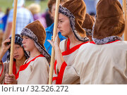 Купить «Russia, Samara, July 2019: an ethno-historical holiday with a reconstruction of the battle of Timur and Tokhtamysh in 1391. The participants of the festival.», фото № 32526272, снято 28 июля 2019 г. (c) Акиньшин Владимир / Фотобанк Лори