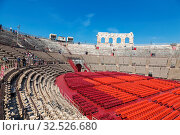 Арена ди Верона - древнеримский амфитеатр в Вероне, Италия (2017 год). Редакционное фото, фотограф Наталья Волкова / Фотобанк Лори