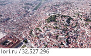 Купить «Picturesque aerial view of historical areas of Lisbon on bank of Tagus river overlooking medieval Roman Catholic Cathedral, Portugal», видеоролик № 32527296, снято 20 апреля 2019 г. (c) Яков Филимонов / Фотобанк Лори
