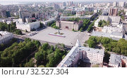 Купить «Panoramic aerial view of city center of Voronezh with Lenin Square, Russia», видеоролик № 32527304, снято 5 мая 2019 г. (c) Яков Филимонов / Фотобанк Лори
