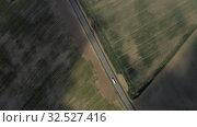 Купить «Cars on highway, speedway in Europe, Drone shot», видеоролик № 32527416, снято 4 октября 2019 г. (c) Aleksejs Bergmanis / Фотобанк Лори