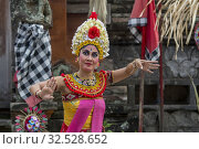 Купить «Female performer during the Barong and Kris dance, which tells a battle between good and evil spirit, performed in Batubulan, Bali Indonesia.», фото № 32528652, снято 23 мая 2019 г. (c) age Fotostock / Фотобанк Лори