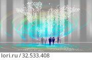 Abstraktes Liniennetz mit diffusen Figuren Menschen Silhouetten. Vertikale Licht Effekte und spiralförmige Licht Linienformen, Weltkarte. Partielle Hell... Стоковое фото, фотограф Zoonar.com/wolfgang rieger / easy Fotostock / Фотобанк Лори